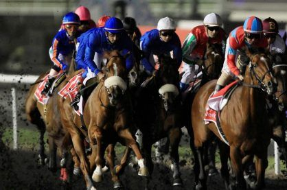 Action from a horse racing event