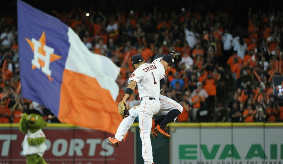 Players from the Houston Astros celebrating during the game
