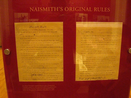 An image of the founding rules of basketball by James Naismith