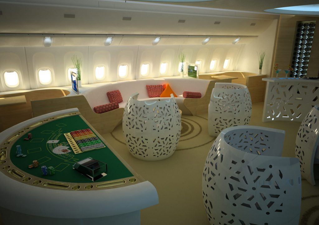 A mini casino in a jet lounge