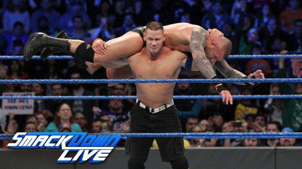 John Cena performing his finishing move on Randy Orton
