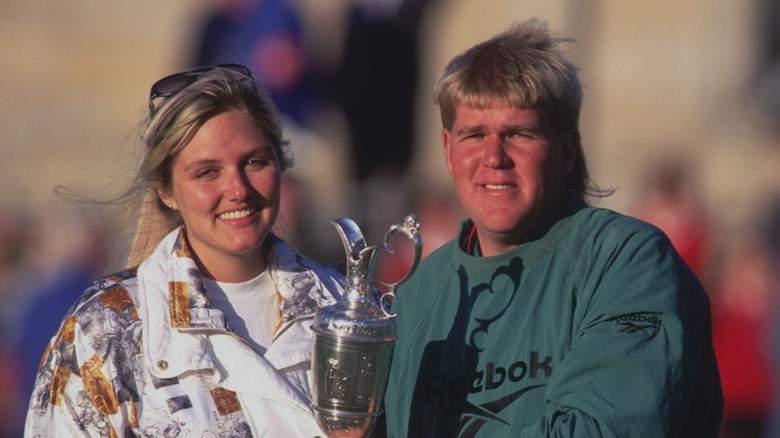 John Daly celebrating his Open Championship win with his partner
