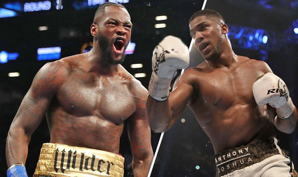 Pictures of the fighters Deontay Wilder and Anthony Joshua