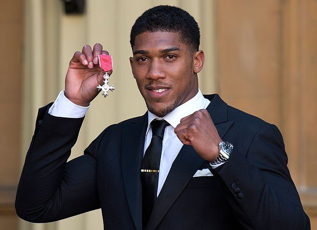 Anthony Joshua pictured with his MBE