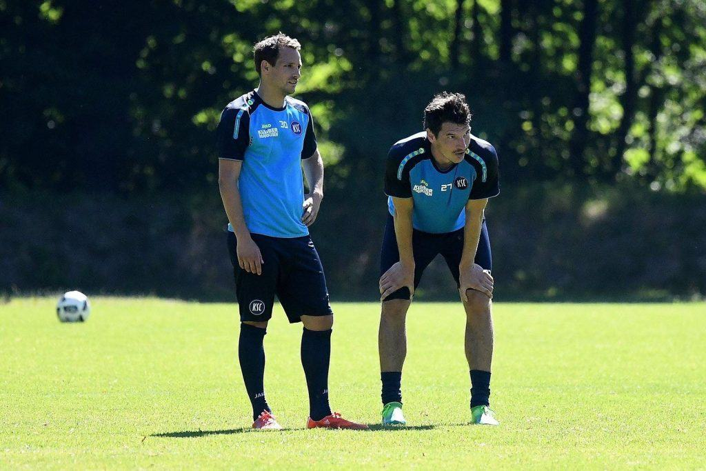 Two players from Karlsruher SC training
