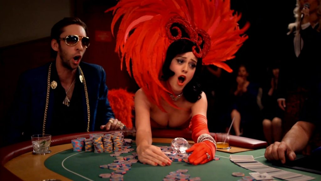 Katy Perry and Joel David Moore in the 'Waking Up in Vegas' music video