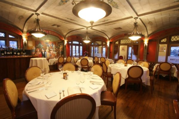 The main dining room of the Knife and Fork Inn