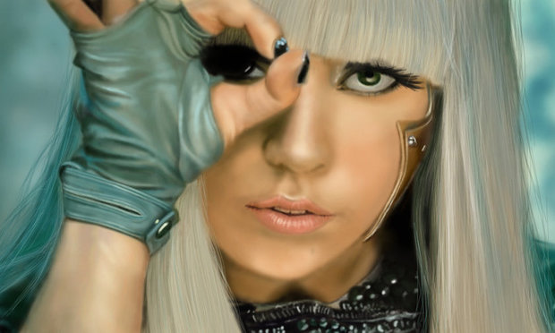 Lady Gaga performing in her Poker Face video