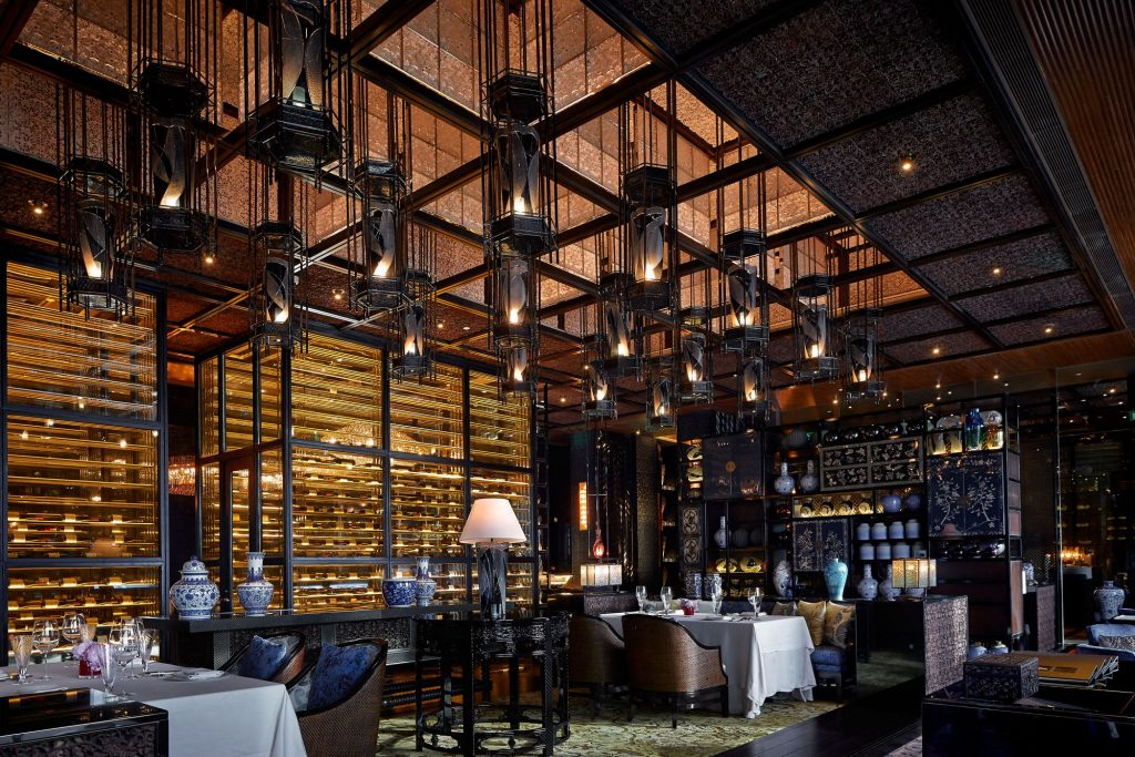 Inside the Lai Heen restaurant at the Ritz-Carlton