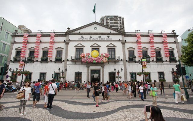 Outside Leal Senado, Macau's oldest building