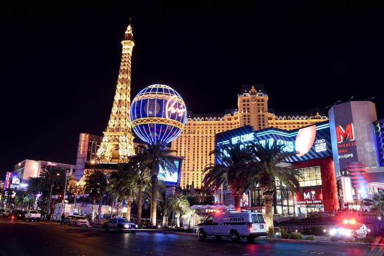 The Las Vegas strip, close to where the shooting occured
