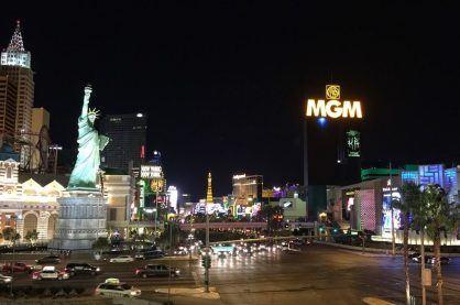 Night time setting at the Las Vegas strip