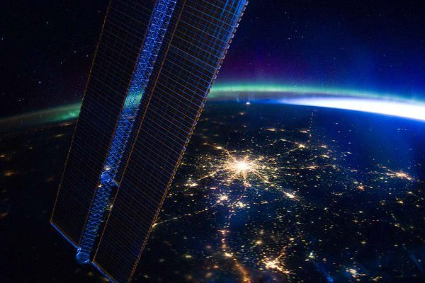 Vegas lights shining on earth from space