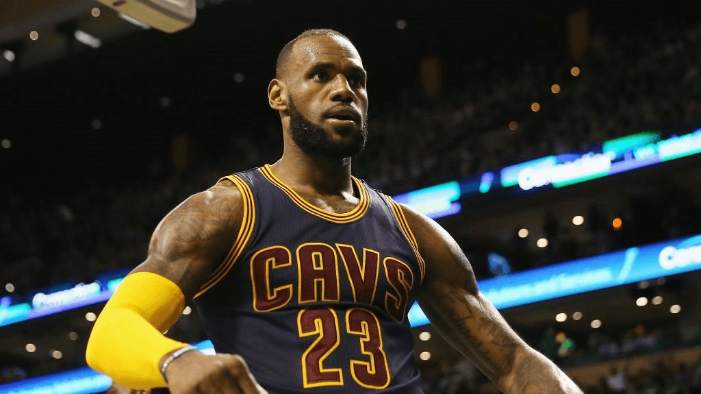 An image of LeBron James, celebrating during a game