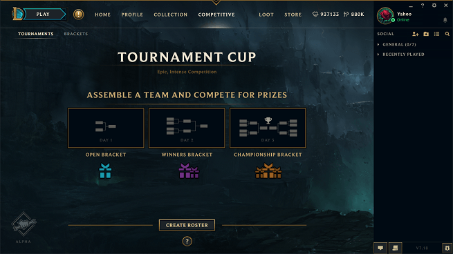 League of Legends new team-based tournament mode
