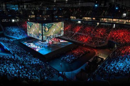 Inside the venue of a major League of Legends tournament