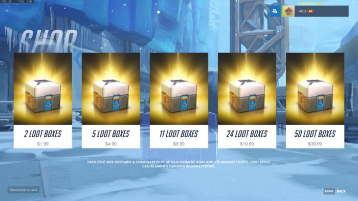 loot boxes in a game