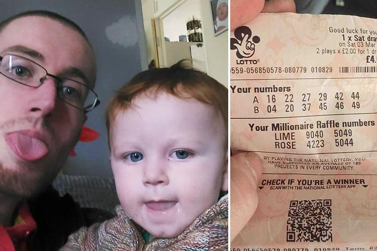 Dad and Son posing with a winning lottery ticket