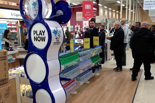 An image of a National Lottery stand