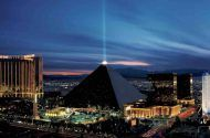 The Luxor hotel and casino resort at night
