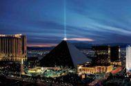 The Luxor hotel and casino resort at night
