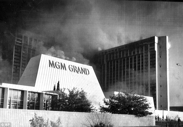 The MGM Grand hotel after the fire in 1980