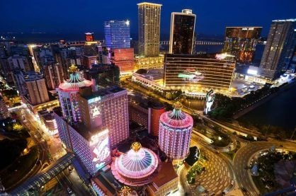A night view of the heart of Macau