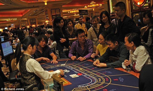 Inside a casino in Macau