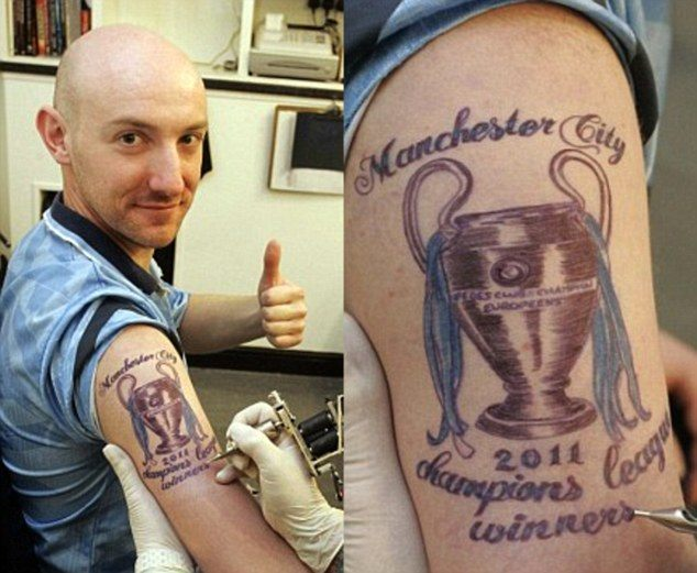Tattoo of imaginary Manchester united win