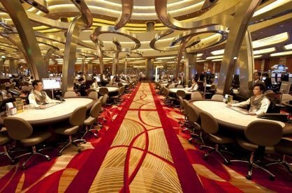 The casino floor at the Marina Bay Sands Casino in Singapore