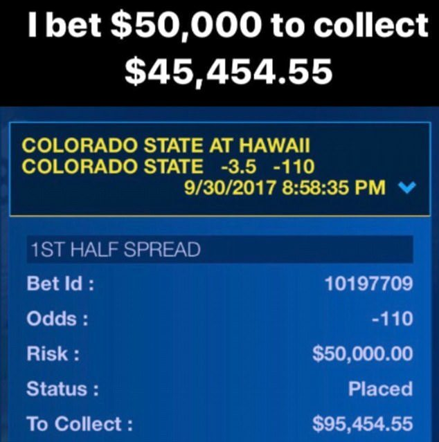 A previous betting slip of Floyd Mayweather's