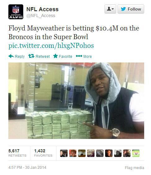An image of Mayweather placing a multi-million dollar bet