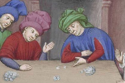 A painting of people playing dice games from medieval times