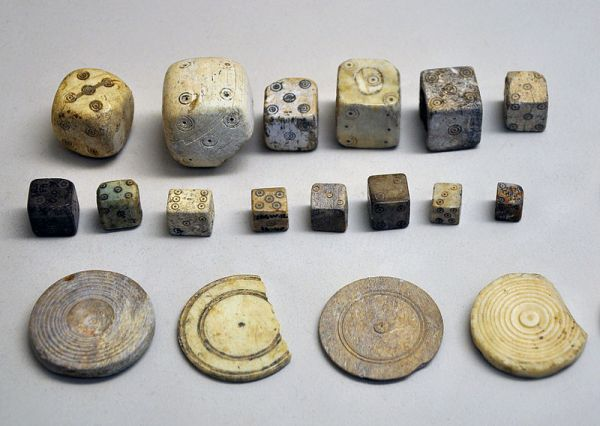 An image of some medieval gaming objects