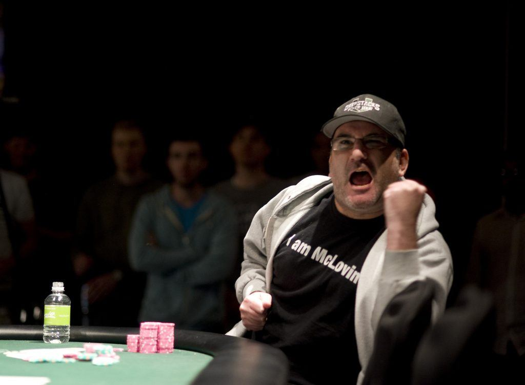 Mike Matusow celebrating a winning hand