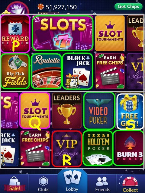 A typical layout of a mobile casino app