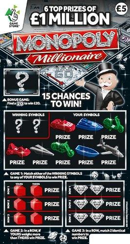 A monopoly millionaire scratchcard