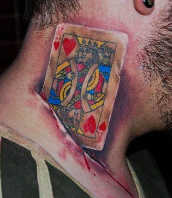 Playing card neck tattoo