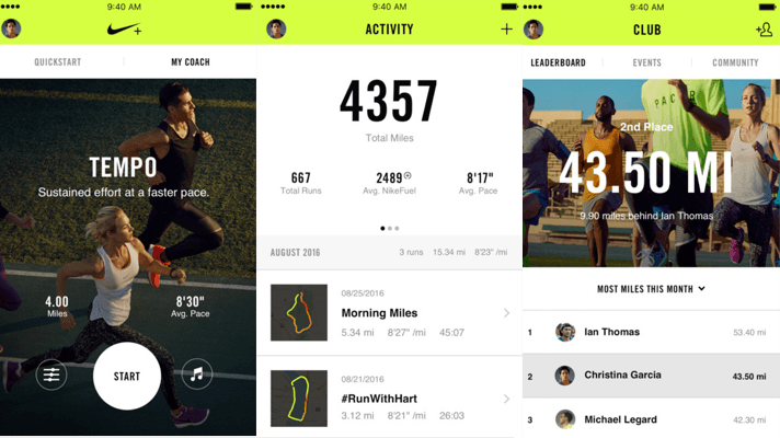 An image from the Nike app, where you can store data from workouts