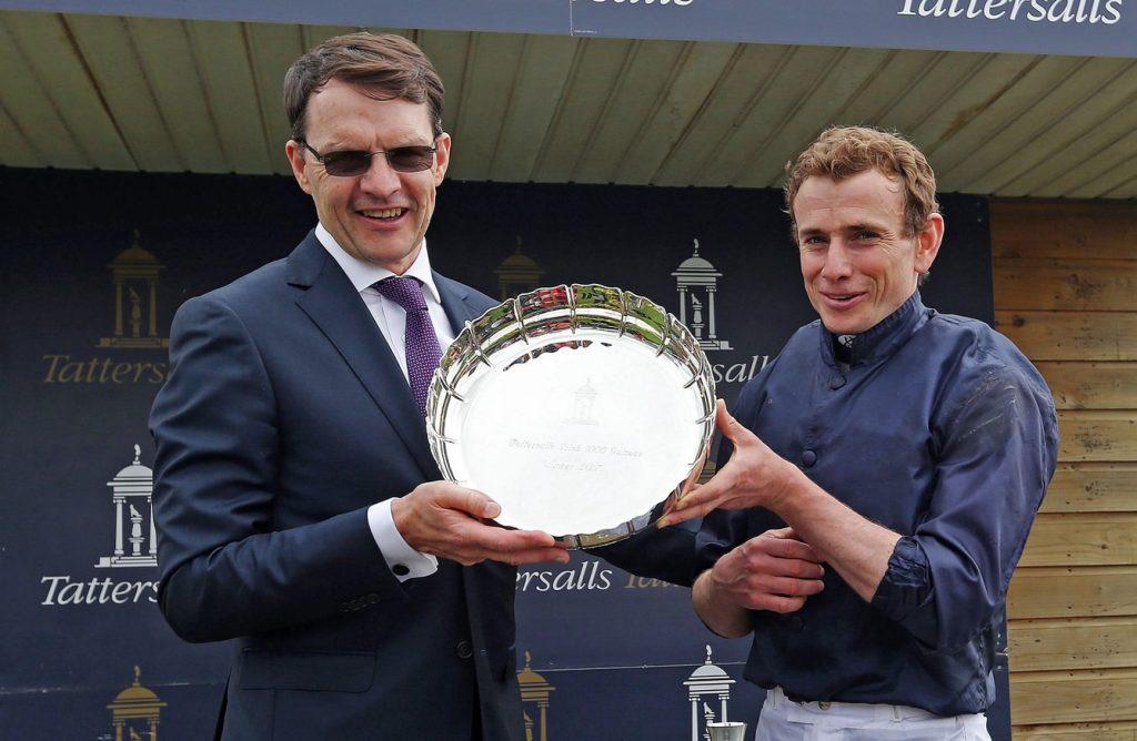 Aidan O'Brien and Ryan Moore celebrating their win at Epsom