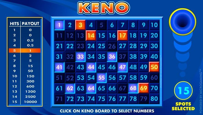 A screenshot of online Keno gameplay