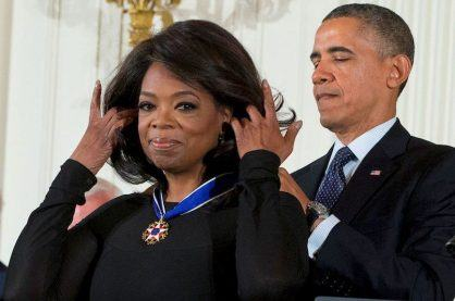 Oprah Winfrey being awarded the Presidential Medal of Freedom
