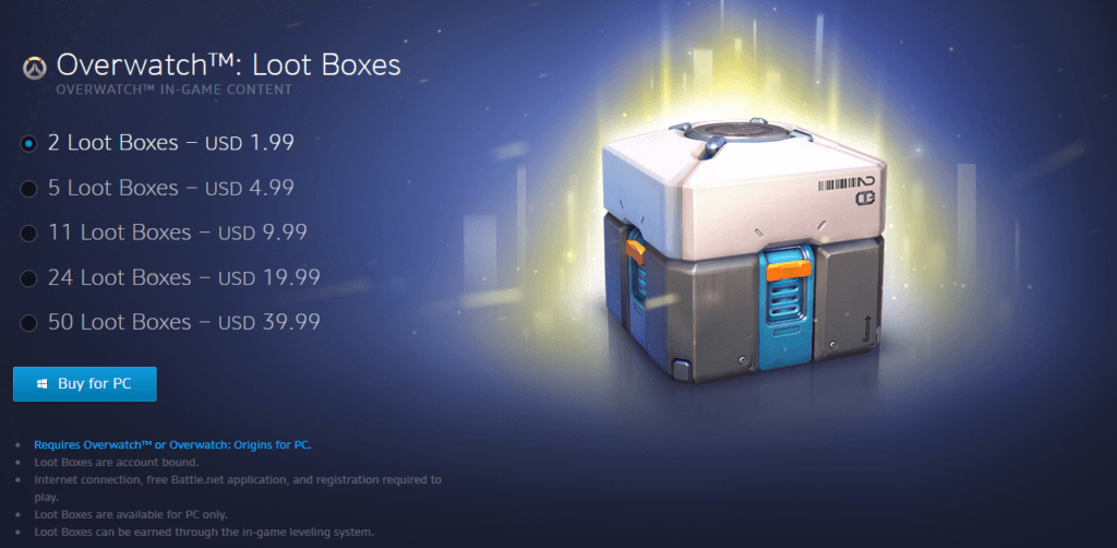 In-game purchasing of loot boxes on Overwatch