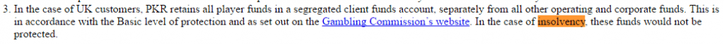 quote from PKR about player funds