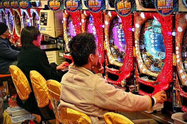 Pachinko, a popular gambling game in Japan