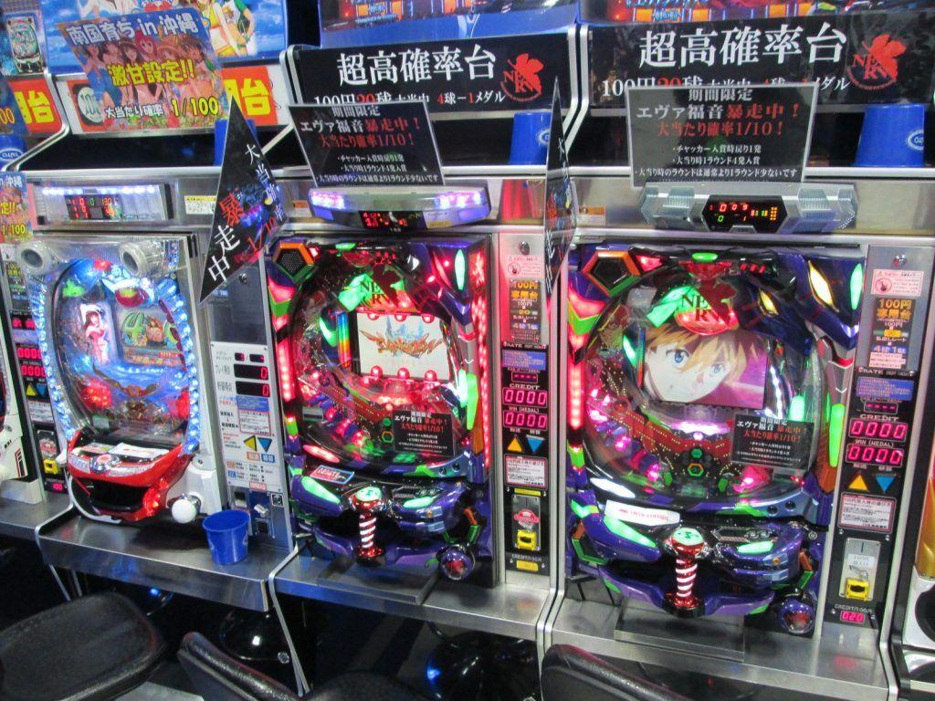 row of pachinko machines in Osaka