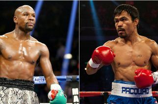 """""""It should have happened years ago, but who will take down the richest boxing match of all time on May 2?"""" (Image: AFP)"""