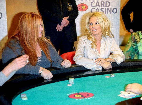 Pamela Anderson playing poker
