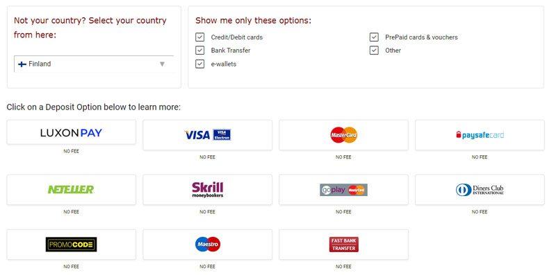 PartyPoker deposit options