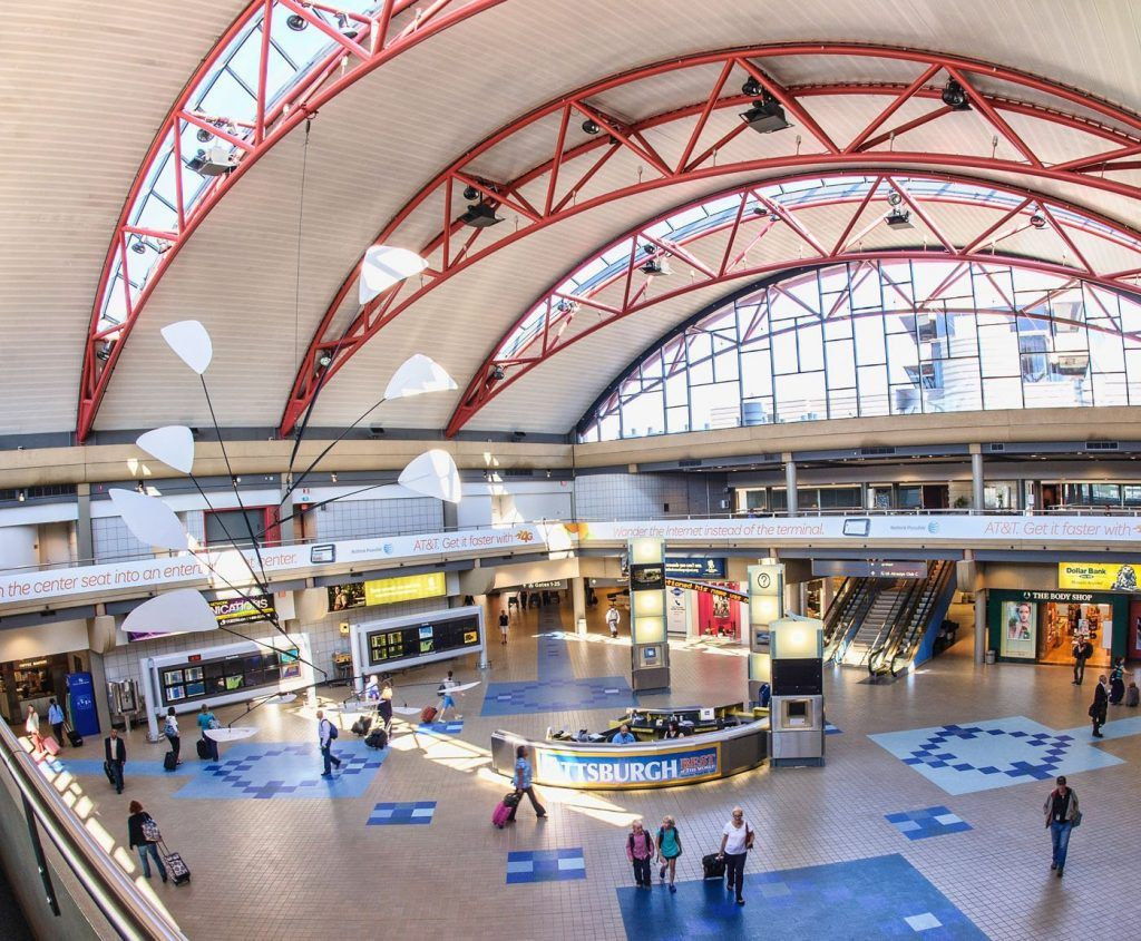 Inside the terminal hall at Pittsburgh Airport